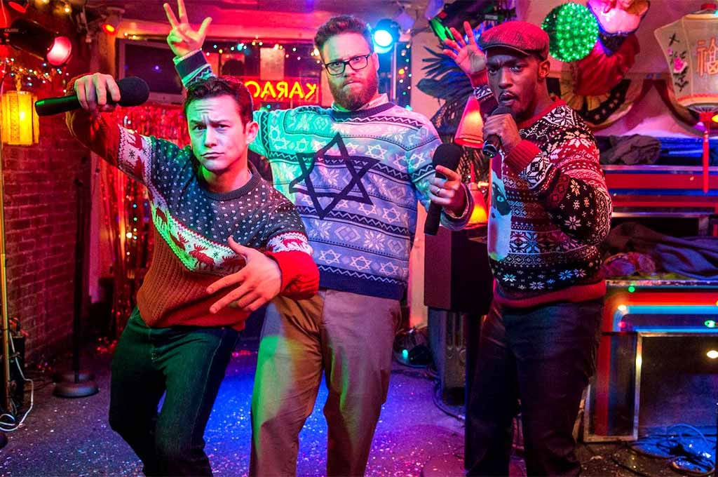 Seth Rogen, Joseph Gordon=Levitt and Anthony Mackie show their moves