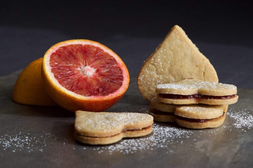 Orange Shortbread Hearts